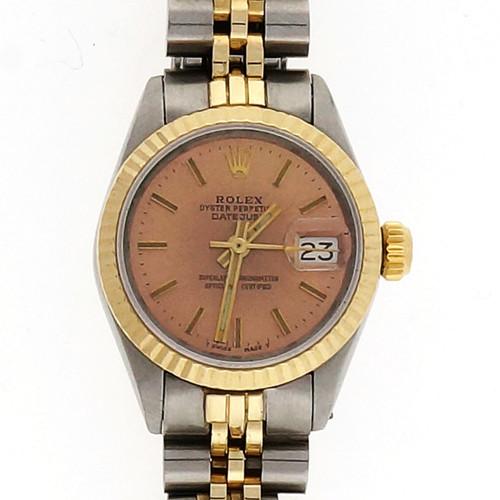 Vintage Ladies Rolex 14k Gold Steel Datejust 6917 Watch