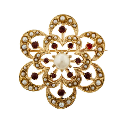 Estate Pearl Garnet Circle Flower Pin Pendant 14k Yellow Gold