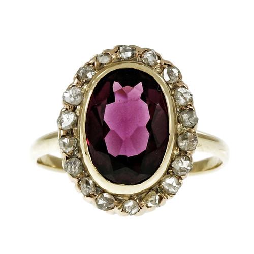 Estate Victorian 1900 Rhodalite Garnet Ring Rose Cut Diamonds 14k