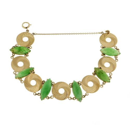 Vintage 1950 Larter Natural GIA Green Marquise Jadeite Jade Bracelet 14k Gold
