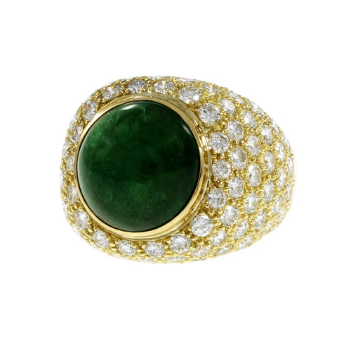 GIA Certified 9.11 Carat Green Cabochon Emerald Diamond Dome Gold Cocktail Ring