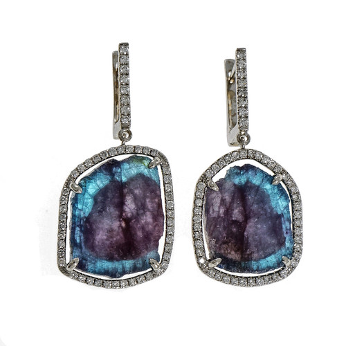 Peter Suchy Rare Paraiba Tourmaline Dangle Earrings Diamond 18k White Gold