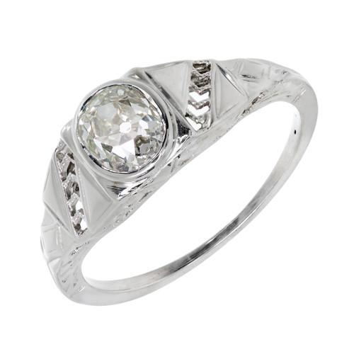 Vintage Art Deco 1930 Old Mine Brilliant Cut Engagement Ring 18k White Gold