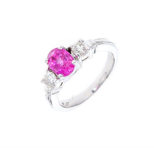 Estate Rare Hot Pink Natural Sapphire 1.35ct Platinum Diamond Engagement Ring
