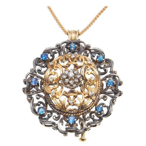 Vintage 18k Gold & Silver Victorian Revival Old Cut Diamond Sapphire Pin Pendant