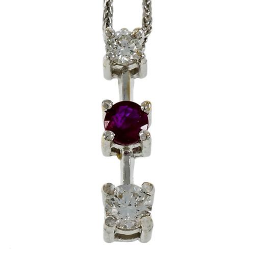 Estate Diamond Ruby Drop Necklace 14k White Gold