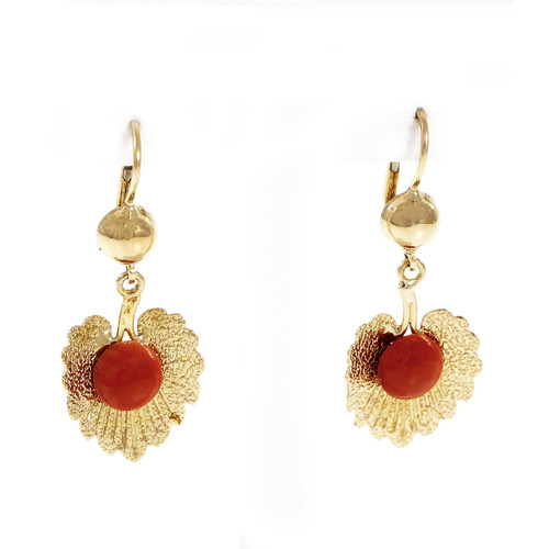 Vintage 1950 Natural GIA Orange Red Coral Dangle Earrings 18k Yellow Gold