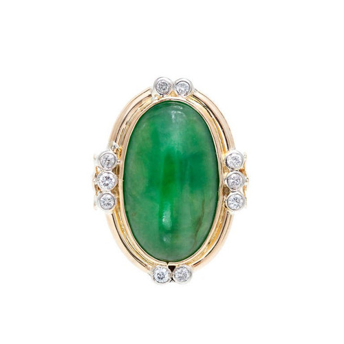 Vintage 1940 Fine A Grade Green Jadeite Jade Ring 14k Gold .30ct Diamond