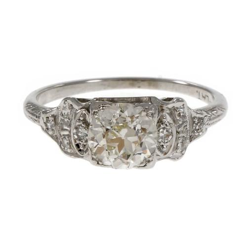 Antique 1920 Art Deco Old European Cut Diamond Engagement Ring Platinum