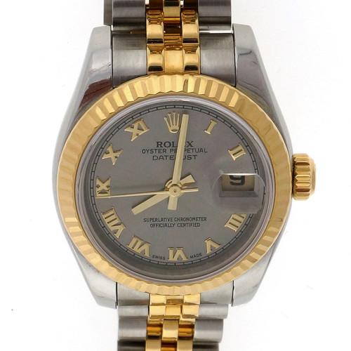 Rolex Ladies Datejust 179173 18k Steel Gold Roman Dial Watch