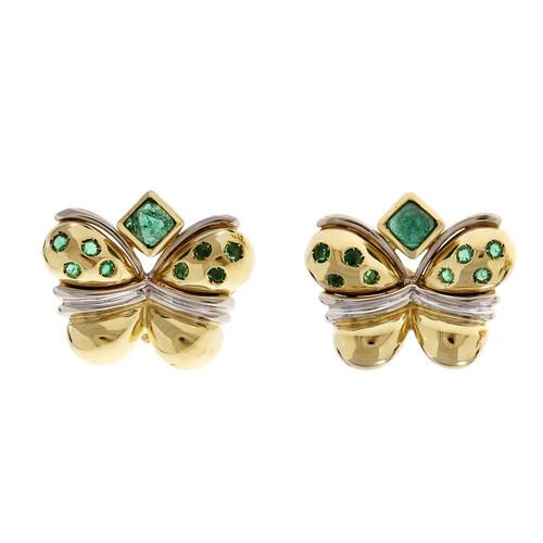 Faraone Butterfly Emerald Earrings 18k Yellow Gold Clip Post