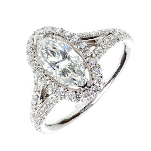 Oval Halo PSD Engagement Ring .99ct Marquise Diamond