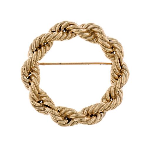 Tiffany & Co Estate Rope Circle Pin 1960 14k Yellow Gold