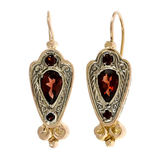 Victorian 1900 Estate Rhodalite Garnet Earrings 14k Pink Gold Silver