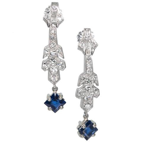 Estate 1920 Art Deco Sapphire Dangle Earrings Platinum Diamond