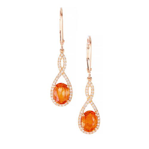Bright Orange Spessartite Garnet Dangle Earrings 14k Pink Gold Diamond