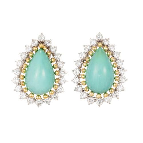 Natural GIA Turquoise Diamond Gold Earrings