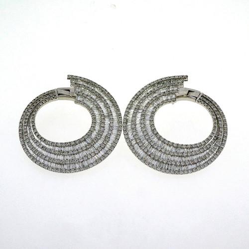Vintage 1960 Important 10.50ct Round Baguette Diamond Hoop Earrings