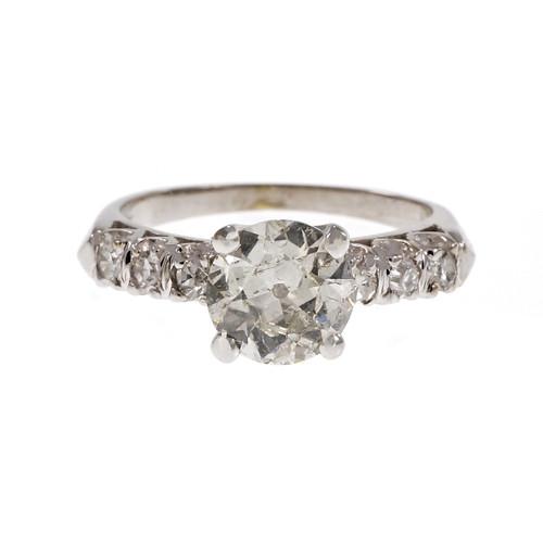 Vintage 1940 Old European Cut Diamond Engagement Ring Platinum
