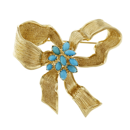 Vintage 1950 Persian Turquoise Bow Pin 14k Yellow Gold