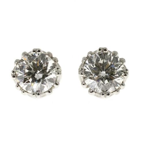 Peter Suchy Scroll Design Basket Diamond Stud Earrings Platinum