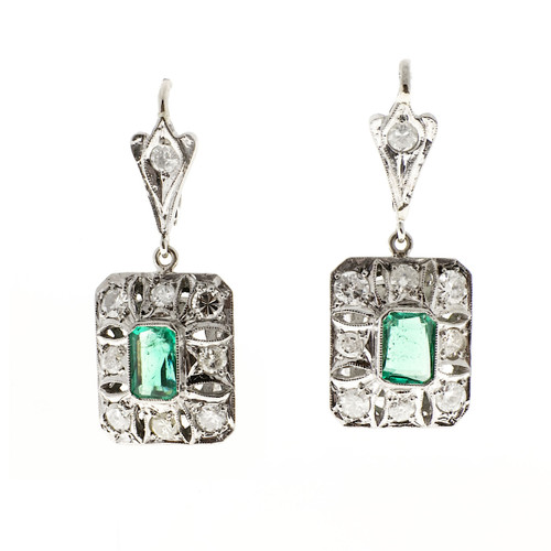 Vintage Columbian GIA Certified Emerald Dangle Earrings Platinum Diamond