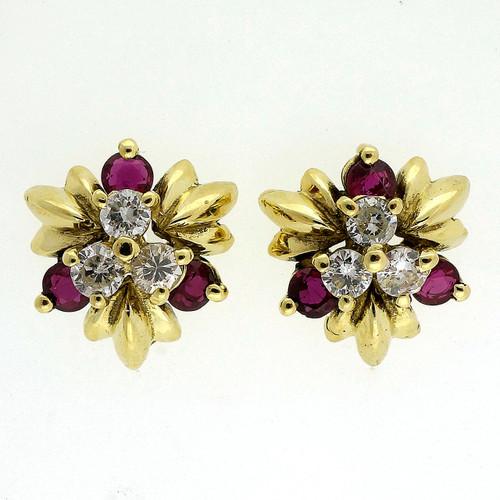 Vintage 1960 .45ct Fine Ruby Diamond Pierced 18k Yellow Gold Earrings