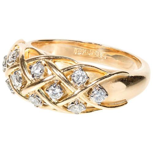 Vintage 1960 Jabel .25ct Diamond 18k Yellow Gold Dome Ring