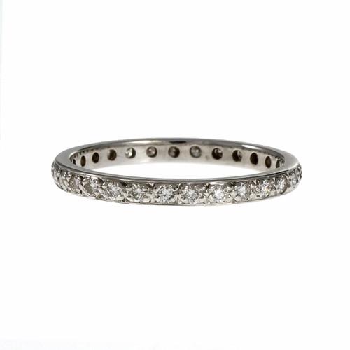 Estate Pavé Set Eternity Diamond Pavé Band Ring 18k White Gold
