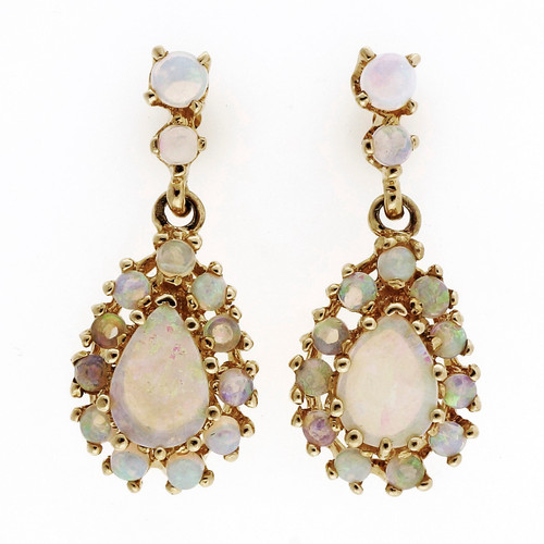 Vintage 1950 Fine Opal 14k Yellow Gold Dangle Earrings 2.50ct