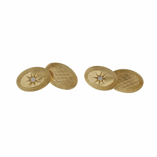 Vintage 1940 Double Sided Diamond Front Cufflinks 14k Yellow Gold