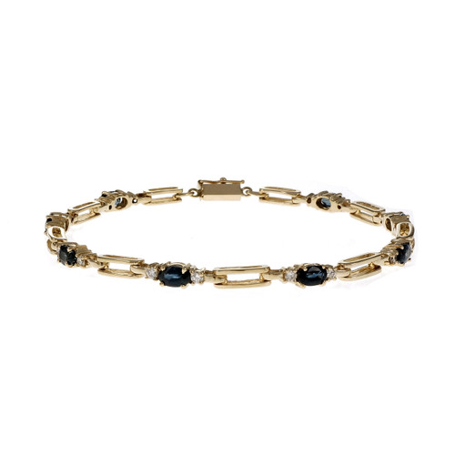 Estate Hinged Link Sapphire Diamond Bracelet 14k Yellow Gold