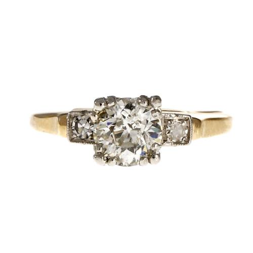 Vintage 1930 Old European Cut Diamond Engagement Ring 14k Yellow Gold Platinum
