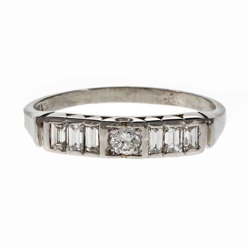 Vintage 1950 Round Baguette Diamond Wedding Band Ring Platinum