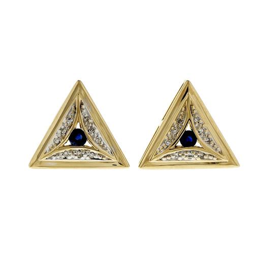 Estate Triangular Earrings Sapphire Diamond 14k Yellow Gold