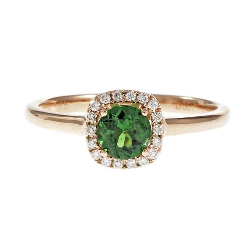 Tsavorite Garnet Round Halo Diamond Ring 14k Rose Gold
