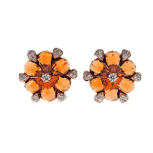Gem Citrine Diamond Round Earrings 18k Pink Gold