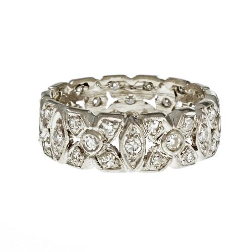 Vintage Retro 1940 Platinum Wedding Band Ring Diamond