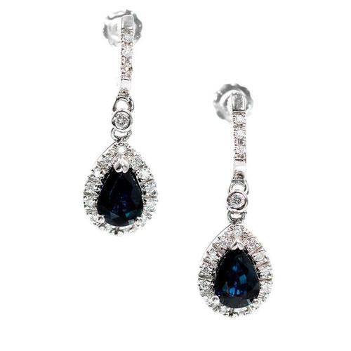 Estate Cornflower Blue 1.75ct Sapphire Pear Shaped Halo Dangle Earrings