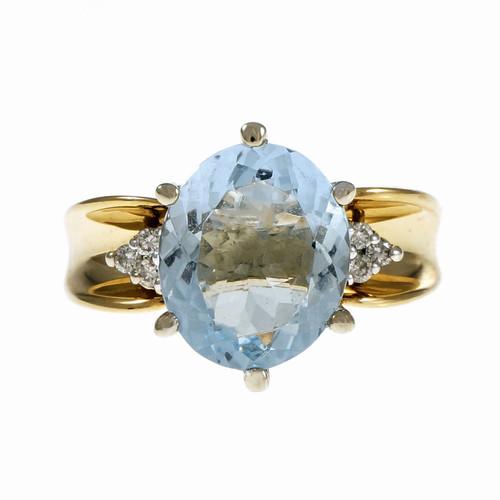 Estate Genuine Oval Aqua Diamond Ring 14k Yellow Gold