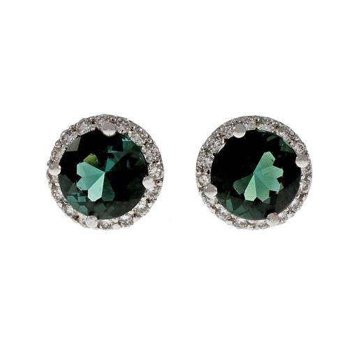 Fine Green Tourmaline Round Halo Earrings 18k White Gold Diamond