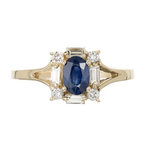 Estate Cornflower Blue .62ct Sapphire Round Baguette Diamond Halo Ring 14k