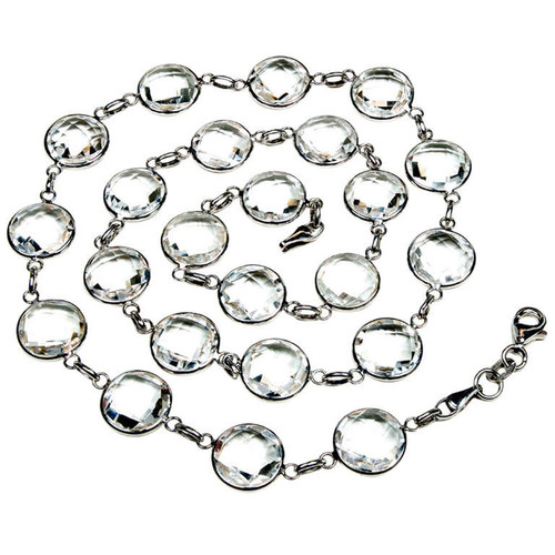 Double Faceted All Around 57.00ct Quartz 14k White Gold Necklace