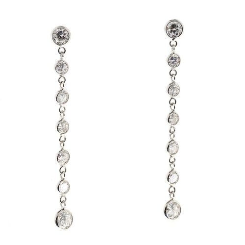 Vintage 1.50ct 14 Full Cut Diamond 14k White Gold Dangle Pierced Earrings