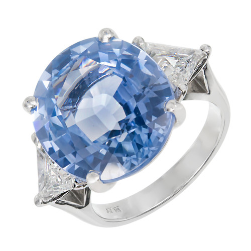 Peter Suchy Certified Ceylon Oval Sapphire Platinum Ring with Trilliant Diamonds