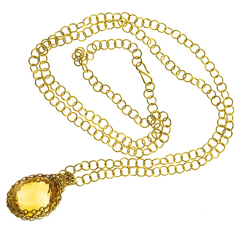 Golden Yellow Chain Link Citrine Large Pendant 18k Yellow Gold