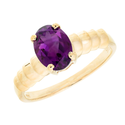1.25 Carat Oval Amethyst 14k Yellow Gold Ring