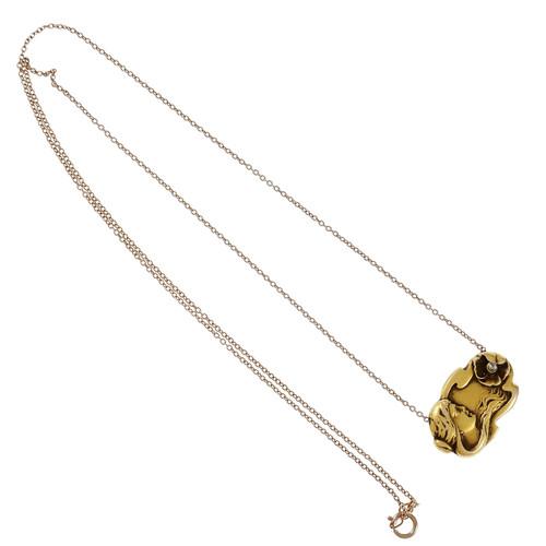 Art Nouveau Diamond Pendant 14k Rose Gold