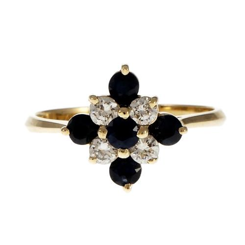 Estate Custom Made Sapphire Diamond Cluster Ring 14k Yellow Gold