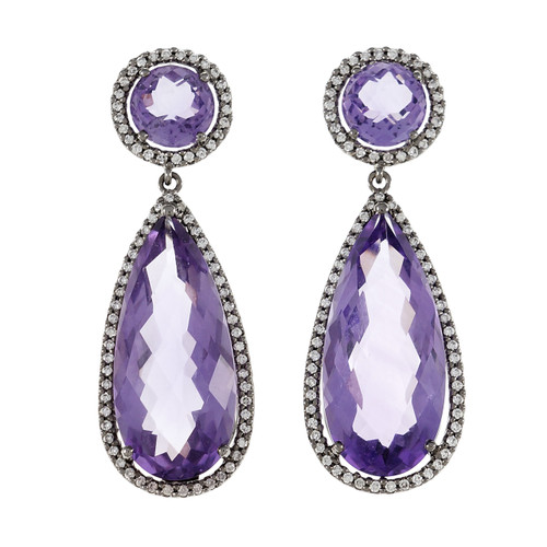 Amethyst Diamond Halo Dangle Earrings 18k Blackened White Gold